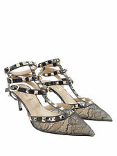 Valentino Rockstud Black Lace Patent Leather Gold Studs Sz 35.5/5.5 Kitten Heels