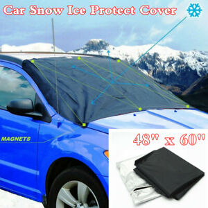 Universal Front Windshield Snow Sun Ice Magnetic Tarp Flap Cover For Car Truck