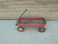 "child's toy metal wagon radio flyer 18 yard garden decor 36"" x 17"" box"