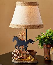 Western Cowboy Horse Burlap Table Lamp Lodge Cabin Farmhouse Wagon Accent Lamp
