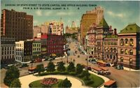 Vintage Postcard - State Street State Capital Buildings Albany New York NY #3759