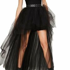 HaoDuoYi Womens Basic Mesh High Low TuTu High Waist Tulle A Line SkirtXL,Black
