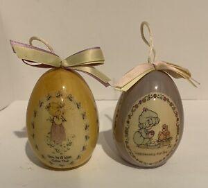 Vintage Precious Moments Eggs Ornaments Bouquet Blessings 1996 Enesco. Set Of 2