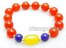 SALE Big 10mm Red Jade and 8mm blue jade and  yellow jade 7.5'' Bracelet-bar314