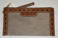 NWOT MICHAEL KORS SELMA Large Clutch Tan Canvas/Hemp Studded Cognac Leather Trim