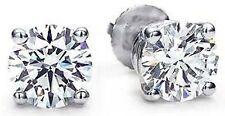 3 Carat Round Ideal cut Diamond Studs Platinum Earrings w GIA F color VS2 certif
