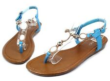 THW-26 New Gladiator T-Strap Buckle Low Heel Sandals Casual Women Shoes Blue 8