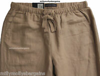 New Womens Marks & Spencer Beige Peg Leg Linen Trousers Size 14 10 8 Long Leg 31