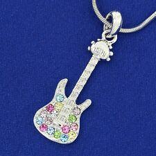 "W Swarovski Crystal Multi Color Electric Guitar Rock Music Pendant 18"" Chain"