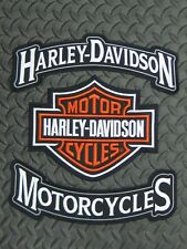 Harley Davidson Motorcycles & Bar & Shield Rocker Patch Set