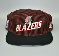 Portland Trail Blazers NBA Logo Athletic Grid Vintage 90's Strapback Cap Hat
