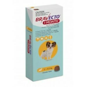 Bravecto Very Small 2-4.5kg Yellow Dog 1 Month Chew Treatment 1 pack (1 month)