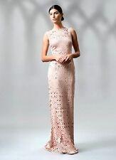 Nwt Tadashi Shoji Antique Pink Laser Cut Neoprene Boatneck Gown Long Dress Sz L
