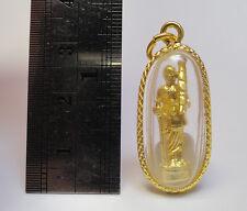 Phra Sivali Pendant Gold Micron Thai Amulet Buddha Good Fortune Wealth No Poor