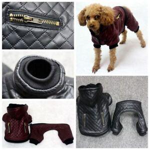 Dog Clothes Leather Small Pet Winter Detachable Two Piece Coat Warm Jacket Set