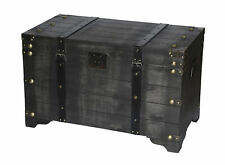 New Vintiquewise Rustic Distressed Black Wooden Large Storage Trunk