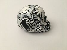 """SAN MIGUEL DE ALLENDE  """"DAY OF THE DEAD"""" HAND PAINTED White FLORAL DESIGN"""