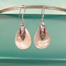 """1 1/4"""" Teardrop Mother of Pearl Shell Bali Sterling Silver Handmade Drop Earring"""