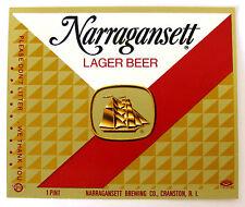 Narragansett Brewing NARRAGANSETT LAGER BEER label RI 16oz Text in red Var. #2
