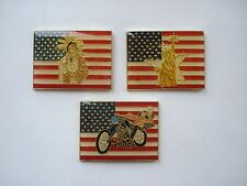 AMERICA STATUE LIBERTY USA FLAG HARLEY CHOPPER BIKE INDIAN PIN BADGE SET LOT NEW