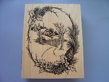 STAMPENDOUS RUBBER STAMPS CHRISTMAS COTTAGE STAMP 2014