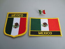 Set of  Embroidery Flag Patch and Badge shield Patch and Lapel pin MEXICO