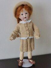 pour Bleuette poupée ancienne de 27 cm bel ensemble tricoté main