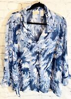 Alfred Dunner Women's Plus Blue 3/4 Sleeve Sheer Top Size 22W