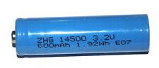 2x Lithium Akku 600mAh 3,2V  Lifepo  14500 Solar Lampe erhöhter Pluspol