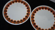2 Melitta Teller 18,5cm Hamburg orange braun 60er 70er Jahre, Vintage Dekor