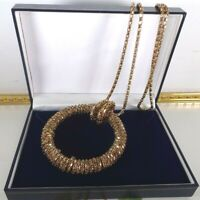 Beautiful Vintage Necklace 1960's Gold Tone Chain With Circular Pendant Mod