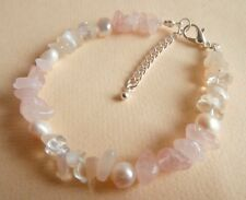 Rose Quartz Moonstone Pearl Gemstone Healing Fertility Bracelet Gift Bag