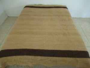 """Vintage Pure Wool ORRLASKAN Brown Striped Blanket, Hudson's Bay Style; 84"""" x 75"""""""