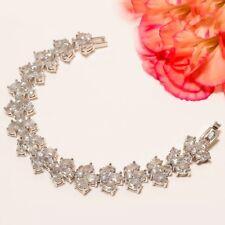 "White Topaz Gemstone Handmade Jewelry Bracelet 7""(14-8)NN"