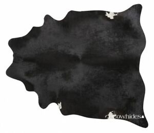 Black Brazilian Cowhide Rug Cow Hide Area Rugs Skin Leather Size XXL