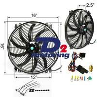 16 INCH THERMO FAN 12V LOW PROFILE CHROME HIGH PERFORMANCE +MOUNTING KIT+RELAY