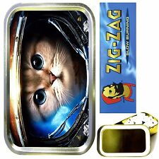 SPACE CAT SMOKING SET, GOLD 1oz TOBACCO TIN, ROLLING PAPERS & FILTER TIPS