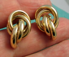 Vintage Stunning Bright Graceful 18k Yellow Gold 4 Gram Knot Pierced Earrings