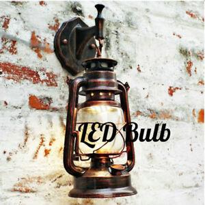 Retro Antique Vintage Rustic Lantern LED Lamp Wall Sconce Light Fixture Outdoor