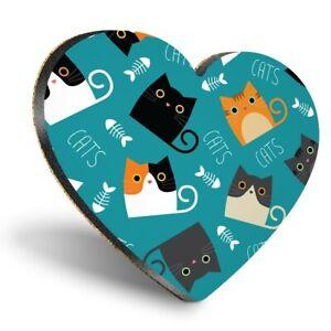 Heart MDF Coasters - Cute ny Cats Kitten Animals Pets  #8746
