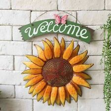 Sunflower Welcome Sign Vintage Metal Wall Hanging Sign Home Garden Decor