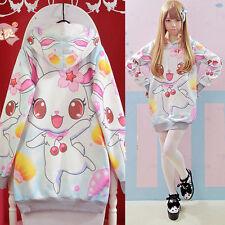 Hot Cute Womens Lolita Cherry rabbit Loose Hoodie Sweater Harajuku Long Sleeve