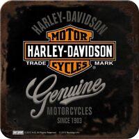 NOSTALGIE GLAS UNTERSETZER Harley Davidson GENUINE Logo Motorrad Biker NEU