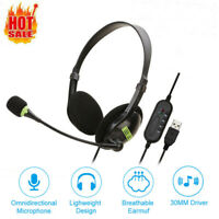 USB Headset With Microphone Noise Cancelling Computer PC Headset Headphones