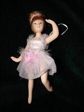 Porcelain Ballerina Doll Christmas Ornament - Gift ~ Beautiful Pink Dress