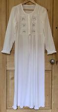 Vtg 70s 80s White Cotton Purple Flower Long Gypsy Boho Peasent Maxi Dress S