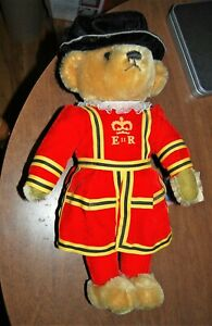 """Vintage Merrythought Mohair Bear Royal Guard Beefeater Made in England 17"""" tall"""