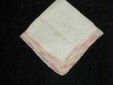 Vintage Pastel Pink & Green Crochet Edge Irish Linen Handkerchief ~ Unused