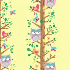 Michael Miller Fabric - Owlery Canary Yellow - Owl Fabric / Woodland - 1 Metre