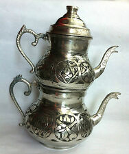 Small Copper Turkish Teapot Samovar Double Kettle Caydanlik Chiselwork labor